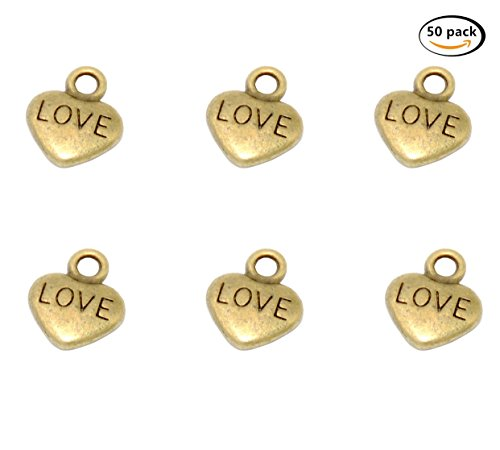 Yansanido Pack of 50 Alloy Heart Shape 10x12 mm