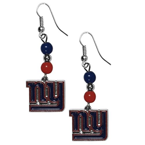 NFL New York Giants Fan Bead Dangle Earrings - New York Giants Jewelry