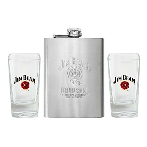 Jim Beam Stainless Steel Whiskey Flask and Shot Glasses Set