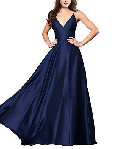 Aurora Gown Prom (Aurora Bridal Spaghetti Strap V-Neck Backless Prom Dresses 2018 Long A-Line Formal Evening Gown A078 Size 20 Navy Blue)