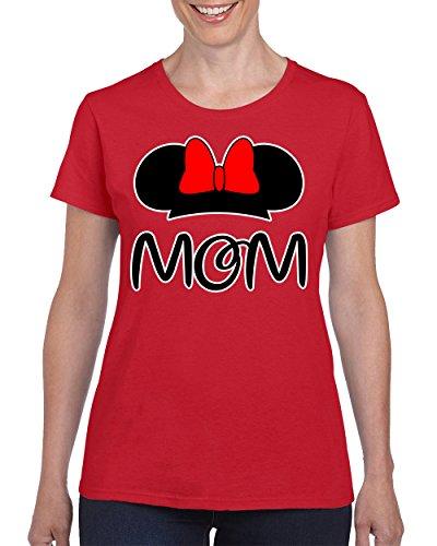 [Minnie Mom Disney Family Fashion T-shirt for Women Round Neck Tee Shirt(Red,XX-Large)] (Family Disney Shirts)