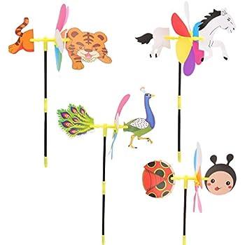 Garden Outdoor Decoration Windmill Spinner Whirligig Kid Toy Orange