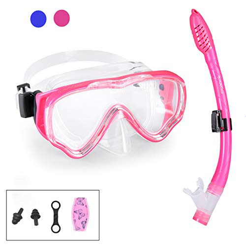 Mask Snorkel Set Snorkeling Gear Dive Mask and Snorkel Adult Kid Diving Goggles Dry Top Anti-Fog Anti-Leak Panoramic View Easy Breathing Swim Gear Neoprene Mask Strap Cover Scuba Swimming(Pink-Kid)