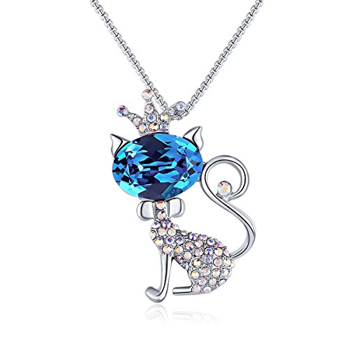 Alaxy Cute Lucky Cat Animal Style Women Jewelry Necklace, Made with Swarovski Crystals