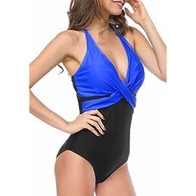 Women's Deep V Front Cross Type One Piece Swimsuit Bathing Suit Swimwear 41Ti OrSi L