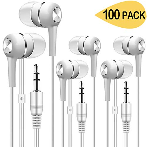 Bulk Earbuds Headphones 100 Pack, Wholesale Disposable Ear Buds Bulk Earphones for Classroom,School,Kids,Libraries,Museums (White)