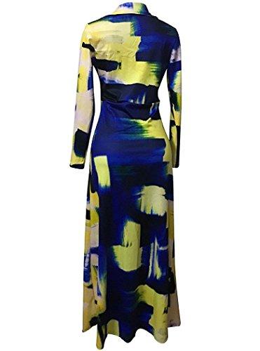 f5f85a3f5f4 Locryz Women s V Neck 3 4 Sleeve Digital Floral Printed Party Loose Long  Maxi Dress