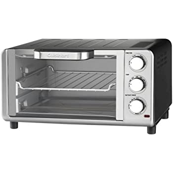 Cuisinart Compact Toaster Oven Broiler with Bake, Broil, Toast and Keep Warm Features, Hands Free Auto-Slide Out Rack and Easy-Clean Nonstick Interior, Includes Baking Tray, Broiling Rack and Recipe Book