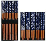 JapanBargain Brand Five Pairs of Asian Blue and White Wooden Chopsticks