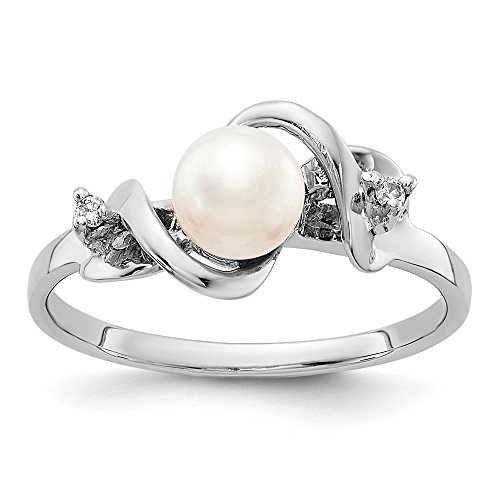 14k White Gold 5.5mm Freshwater Cultured Pearl Diamond Band Ring Size 6.00 Fine Jewelry Gifts For Women For Her