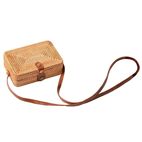 Storage Hand Woven Bohemian Bag Square Bag Bag Rattan for Bag Beach Small Tasseled Home Women Vintage Handmade wISTSXz