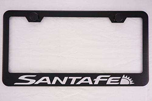 Hyundai Santa Fe Black License Plate Frame with Caps