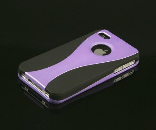 gada - Handyhülle für Apple iPhone 4S 4 4G 3-Part Hardcase im stylischen Design - Schwarz/Lila