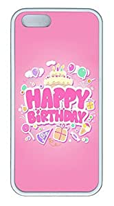 iPhone 5 5S Case Happy Birthday Pink TPU Custom iPhone 5 5S Case Cover White