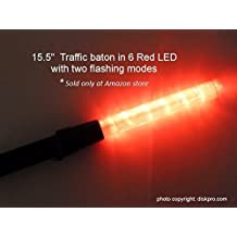 15.5 inch Traffic Safety Baton Light, in 6 Red LED with Two Flashing modes (Blinking and Steady-glow), uses 2 C-size battery. Good for Parking Guides and Dog Walkers Safety.