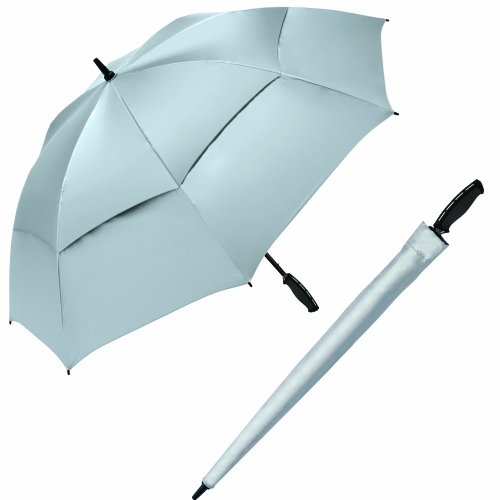 ShedRays by ShedRain 3148 Silver 62-Inch Arc Manual Open vented Golf Umbrella with UPF 50+ Sun (Manual Open Golf Umbrella)