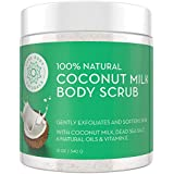 Exfoliating Body Scrub with Hydrating Coconut Milk and Detoxifying Dead Sea Salt, Moisturizing Exfoliating Scrub by Pure Body Naturals, 12 Ounce (Label Varies)