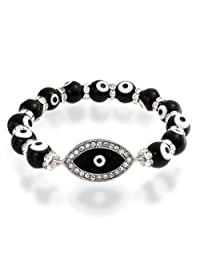 Bling Jewelry Clear Crystal Beads Black Evil Eye Stretch Bracelet Silver Plated