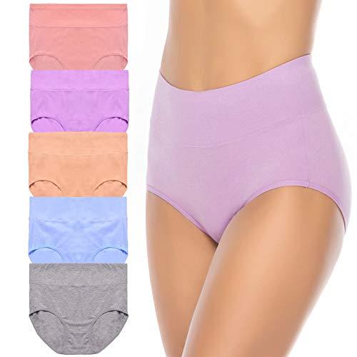 Annenmy Women's High Waist Tummy Control Cotton Underwear 5 Pack Sold Color Briefs Panties (XX-Large, Light ()