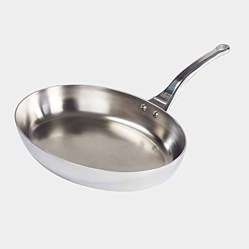 De Buyer Professional 32 cm Stainless Steel Affinity Medium Oval Fish Frypan 3725.32