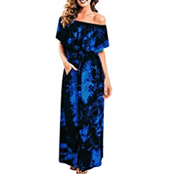 Quealent Womens Off The Shoulder Ruffle ...