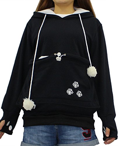 Sciolto con Con B Moda Felpa Forti Cane Grande Pullover Animale Donna Nero Gatto Domestico Taglie Cappuccio Sweatshirt ShallGood Canguro Tasca qw6IpWfO
