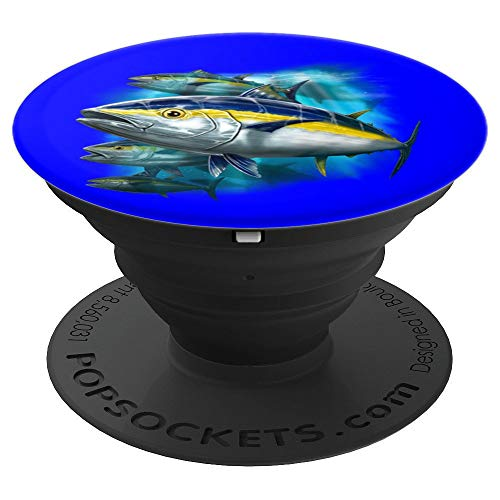 Yellowfin Tuna Fishing Full Image Portrait Art Design Gift - PopSockets Grip and Stand for Phones and Tablets