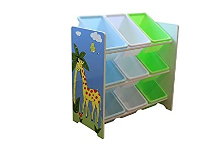 Liberty House Toys Safari Storage Shelf With Nine Plastic Bins, Wood,  Multi Colour