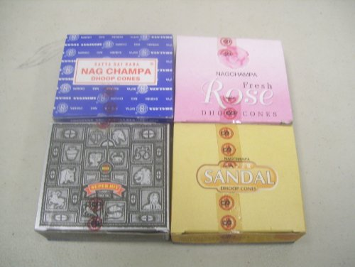 Nag Champa Incense Cones (Nag Champa Fresh Rose Super Sandal Super Hit Incense Cones By Satya Sai Baba 4 X 12)