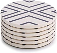 LIFVER Coasters for Drinks, Absorbent Coaster Set of 6 with Cork Base, Ceramic Drink Coasters for Cold Drinks