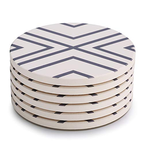 (LIFVER 6-Piece Absorbent Stone Set, Drink Spills Coasters, Grey-Lines)