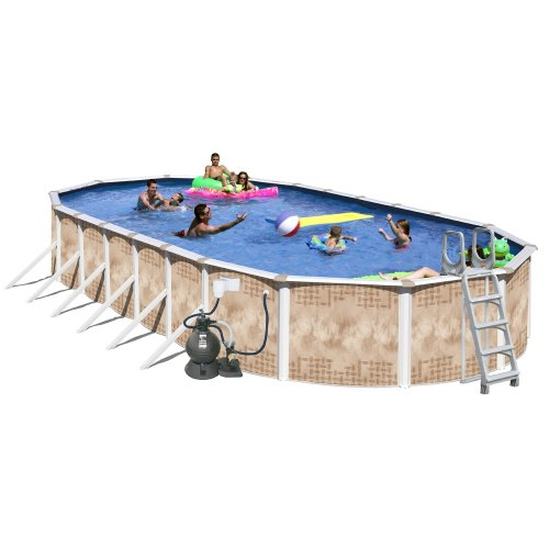 Large Swimming Pool (Splash Pools Oval Deluxe Pool Package, 30-Feet by 15-Feet by 52-Inch)