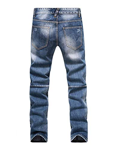 Da Semplice Stile Con Distrutti Uomo Jeans Fit Slim Buco Casual Biker Usati Pantaloni Indigo Denim 0qFIZZ