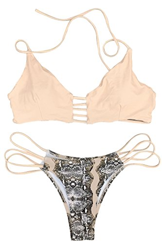 CUPSHE Women's Apricot Push Up Halter Bikini Set