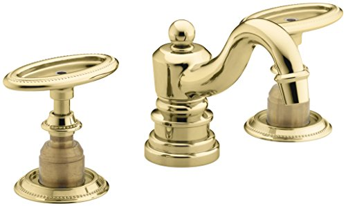 KOHLER K-280-9B-PB Antique Widespread Bathroom Sink Faucet, Vibrant Polished (Oval Handle Lavatory)