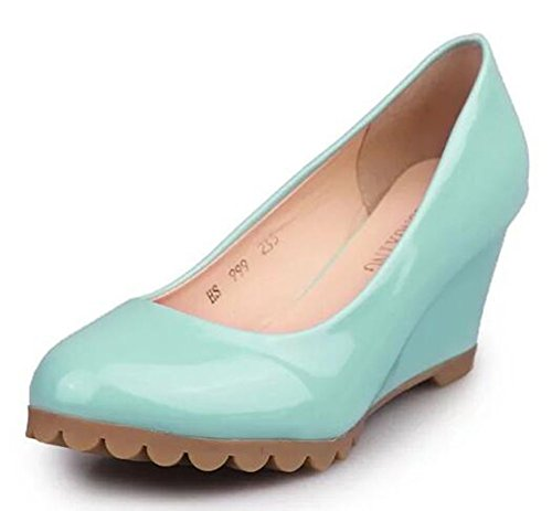 Chfso Moda Donna Tinta Unita Punta Rotonda Slip On Mid Top Scarpe Con Zeppa Scarpe Blu