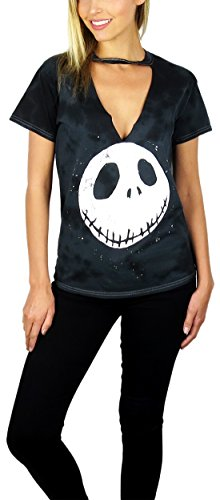 Nightmare Before Christmas Womens Graphic Gigi Choker Neck Tee Charcoal Tie-Dye (Charcoal, (Jack Skellington Clothing)