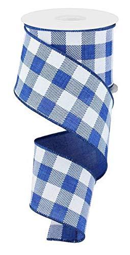 (Plaid Check Wired Edge Ribbon, 50 Yards (Royal Blue, White 2.5