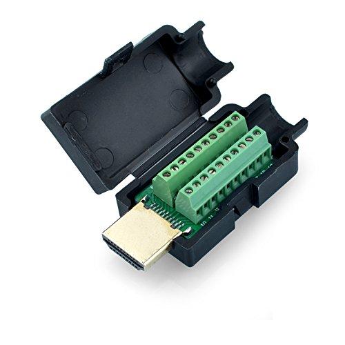 SIENOC HDMI 19P Plug to Terminal Block Breakout Male DIY Connector Plug W/Black ()