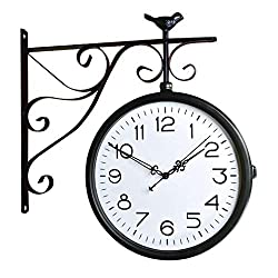 CAO-Decor Double Sided Wall Clock, Bracket Clock, Clocks Outdoor Garden Outside Vintage Two Sided Design Silent Clock Living Room Mute Clock for Use Indoors