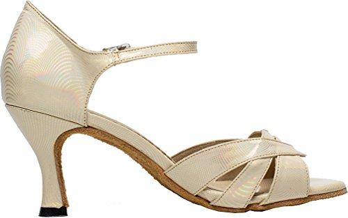 Abby Q-6198 Femmes Latin Tango Cha-cha Salle De Bal Talon Personnalisé Peep-toe Pu Chaussures De Danse Gris