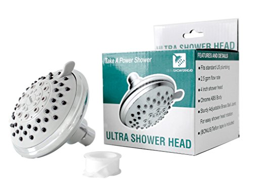High Water Pressure Shower Head-Combo with 6 Adjustable Nozzle Flow Settings-Fits Standard U.S. Plumbing- 2.5 GPM -with showers saver mode.
