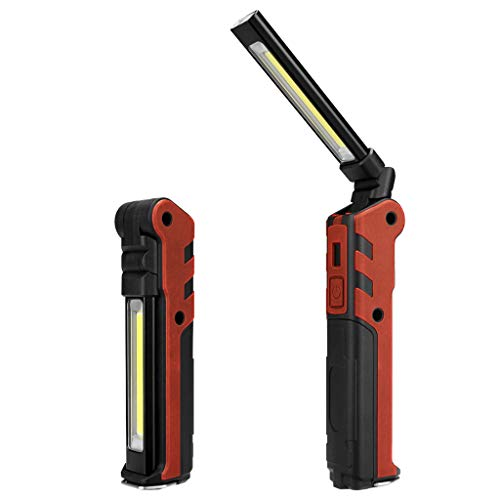 SMALLE  Work Light Rechargeable, 2019 Led Work Light Rechargeable Bright Flashlight Inspect Folding Torch Red