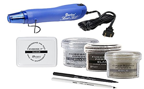 Super Fine Detail Embossing Powder - Embossing Kit - 3 Ranger Super Fine Embossing Powder with Two Inkssentials stays on ink Embossing Pen Black And Clear, Darice Embossing Heat Gun and Ranger Embossing Pad