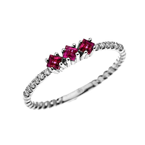 White Gold Princess Cut Ruby (14k White Gold Three Stone Princess Cut Ruby and Diamond Dainty Rope Design Ring(Size 8))