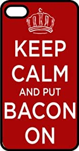 Keep Calm & Put Bacon On with Crown Black Plastic Case for Apple iPhone 5 or iPhone 5s