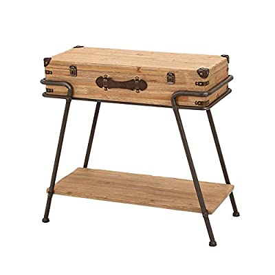 Urban Designs Handcrafted Wooden Metal Frame Removable Storage Trunk Accent Table