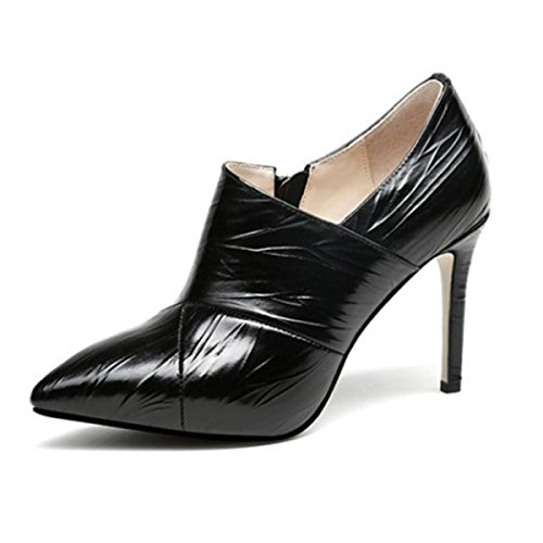 Women's Elegant Pointy Toe Platform Pumps Slip On High Heels For Wedding Party Office Stiletto Shoes Black