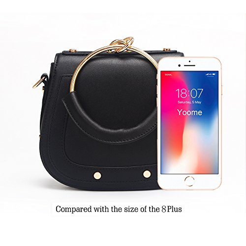 Handle Girls Ring Handle Circular Handbags For Bags Women Yoome Purse Crossbody Black Round leather Punk Small qwx7TACR