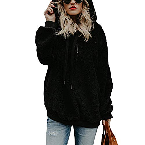 LUNIWEI Clearance Women Hoodie Sweatshirt Long Sleeve Cashmere Warm Winter Coat Jacket Outwear w Pocket(Black , M)